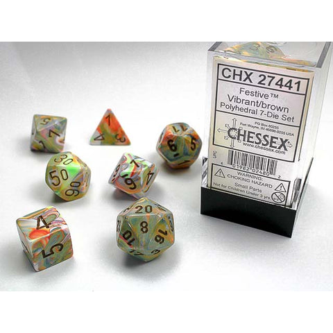 Festive Vibrant with brown font 7 Dice Set [CHX27441]
