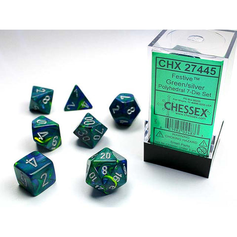 Festive Green with silver font 7 Dice Set[CHX27445]