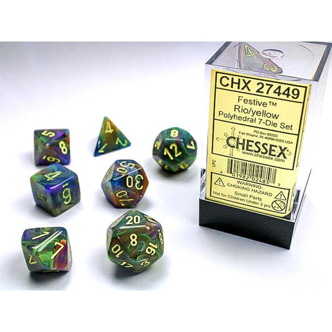Festive Rio with yellow font 7 Dice Set [CHX27449]