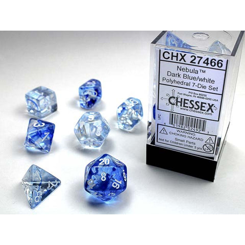 Nebula Dark Blue with white font 7 Dice Set [CHX27466]
