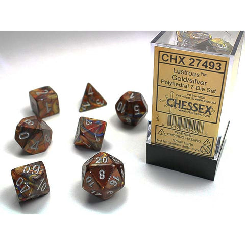 Lustrous Gold with silver font 7 Dice Set [CHX27493]