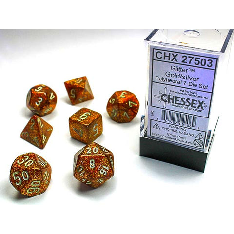 Glitter Gold with Silver 7 Dice set [CHX27503]