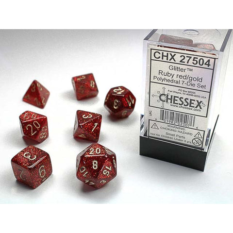 Glitter Ruby with gold font 7 Dice Set [CHX27504]