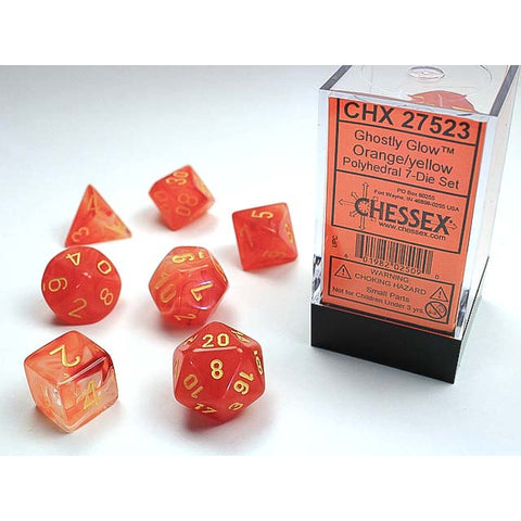 Ghostly Glow Orange with Yellow Font 7 Dice Set (DISC Summer 2019) [CHX27523]