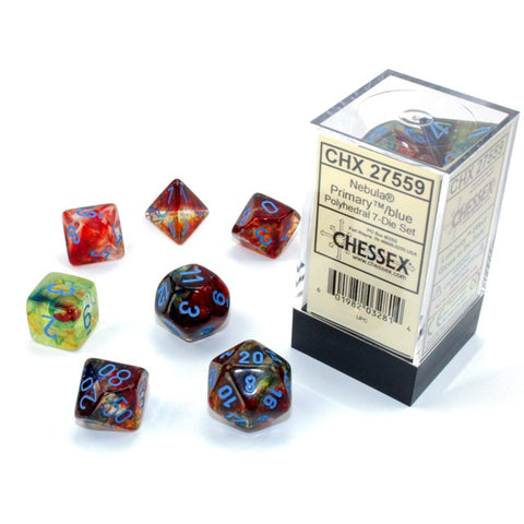Nebula Primary with blue font 7 Dice Set Glow [CHX27559]