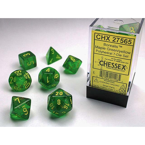 Borealis Maple Green with yellow font 7 Dice Set [CHX27565]