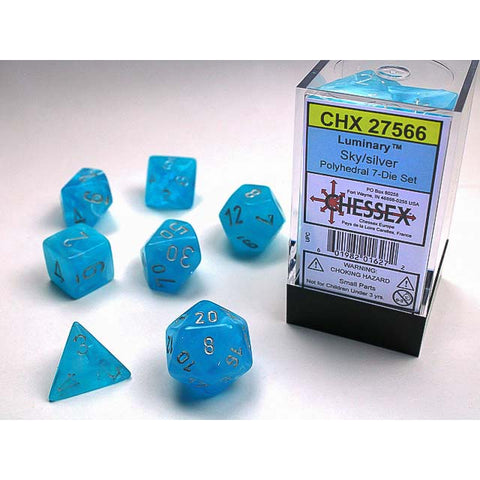 Luminary Sky with silver font 7 Dice Set [CHX27566]