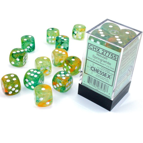 Nebula Spring with white font 12D6 16mm Dice Glow [CHX27755]