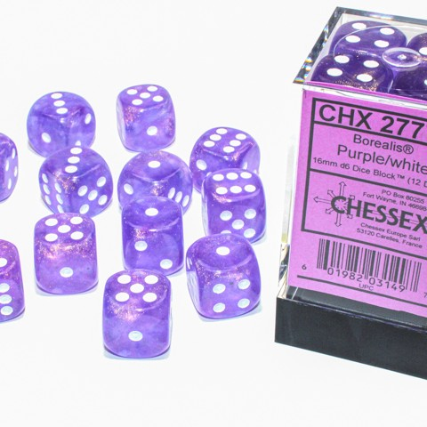 Borealis Purple with white font Luminary 12D6 16mm Dice [CHX27777]
