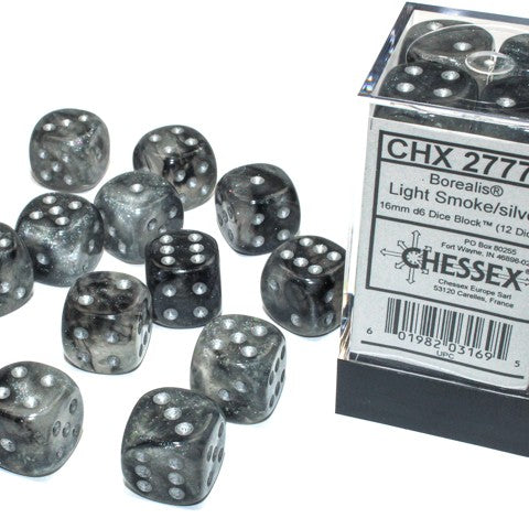 Borealis Light Smoke with silver smoke Luminary 12D6 16mm Dice [CHX27778]