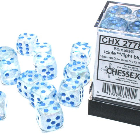 Borealis Icicle with light blue font Luminary 12D6 16mm dice [CHX27781]
