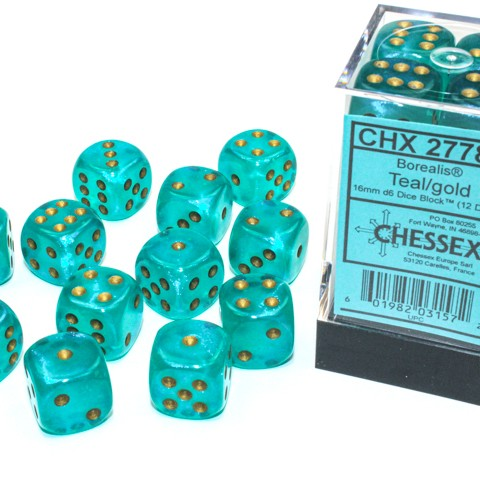 Borealis Teal with gold font Luminary 12D6 16mm dice [CHX27785]