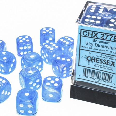 Borealis Sky Blue with white font Luminary 12D6 16mm dice [CHX27786]