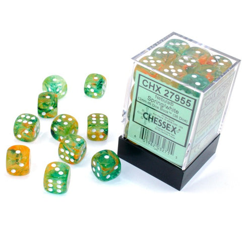 Nebula Spring with white font 36D6 12mm Dice Glow [CHX27955]