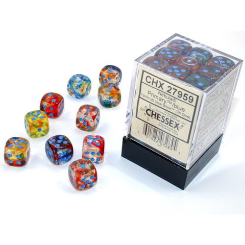 Nebula Primary with blue font 36D6 12mm Dice Glow [CHX27959]