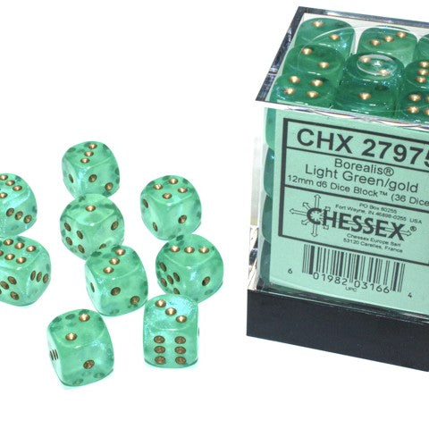 Borealis Light Green with gold font Luminary 36D6 12mm Dice [CHX27975]