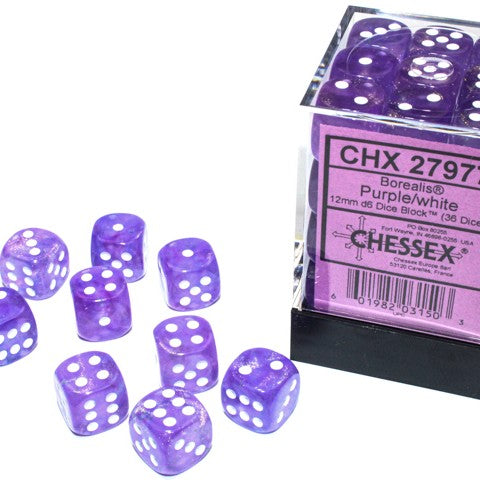 Borealis Purple with white font Luminary 36D6 12mm Dice [CHX27977]