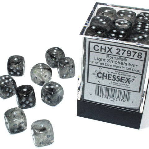 Borealis Light Smoke with silver font Luminary 36D6 12mm Dice [CHX27978]