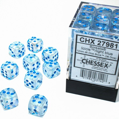 Borealis Icicle with light blue font Luminary 36D6 12mm Dice [CHX27981]