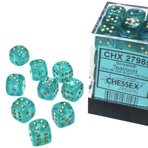 Borealis Teal with gold font Luminary 36D6 12mm Dice [CHX27985]