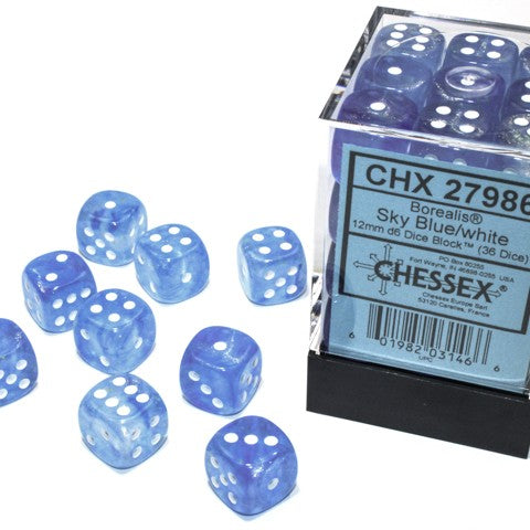 Borealis Sky Blue with white font Luminary 36D6 12mm Dice [CHX27986]