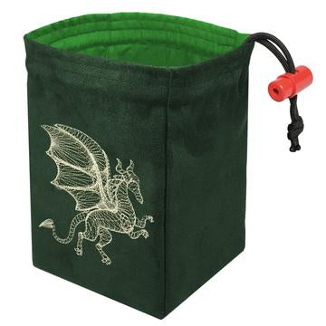 Red King Dice Bag: Suede Green Dimensional Dragon Glow in Dark