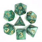 Pearl Green with gold font Set of 7 Dice