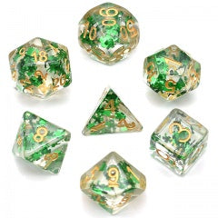Floating Green Clovers w gold font 7 Dice Set