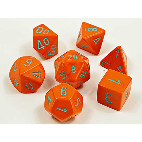 Lab Dice 4: HEAVY Orange with turquoise font 7 Dice Set (8 dice) [CHX30038]