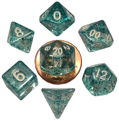 Ethereal Lt. Blue w white font Set of 7 Mini dice