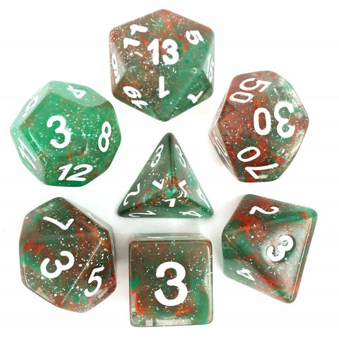 Galaxy Red Green with white font Set of 7 Dice