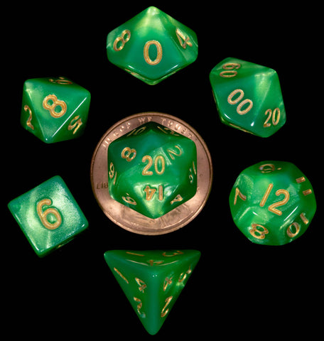 Green | Lt. Green with gold font Set of 7 Mini dice