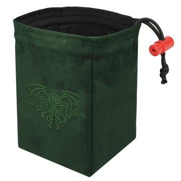 Red King Dice Bag: Suede Green Cthulhu Crest