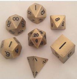 Metallic Antique Gold with black font 7 Dice Set