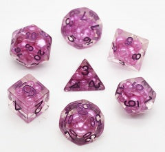 Floating Pearls Purple w purple font 7 Dice Set