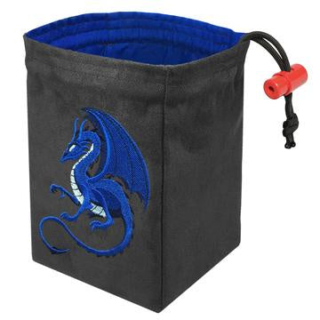 Red King Dice Bag: Grey Suede Fantasy Blue Dragon