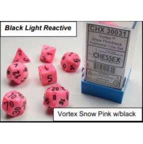 Lab Dice 2: Vortex Snow Pink with black font 7 Dice Set Glow oop [CHX30031]