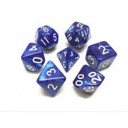 Pearl Blue with white font Set of 7 Dice
