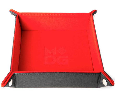 Red Velvet w black leather backing folding Dice Tray