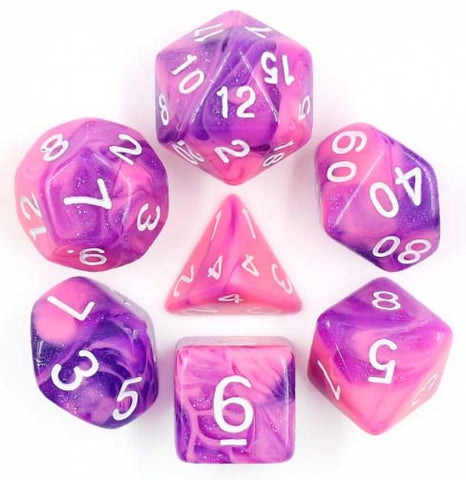 Aurora Pink+Purple with white font Set of 7 Dice