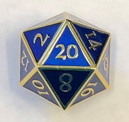 Giant Metal Blue Enamel with gold edges + font 35mm D20