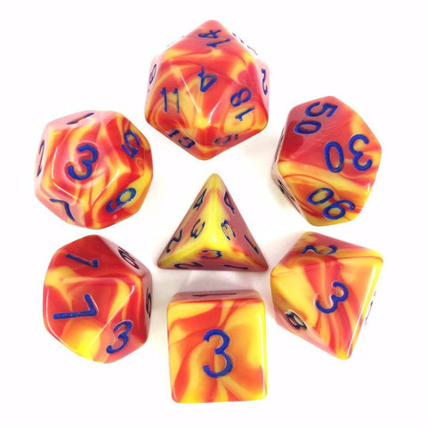 Blend Red Yellow with blue font Set of 7 Dice