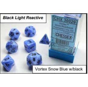Lab Dice 2: Vortex Snow Blue with black font 7 Dice Set Glow oop [CHX30029]
