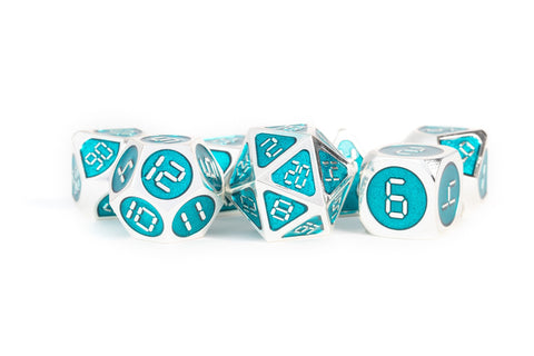 Metallic Teal Enamel with Silver Edges and digital font 7 Dice Set