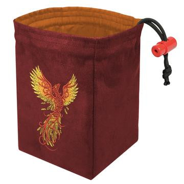 Red King Dice Bag: Suede Red Phoenix Rising