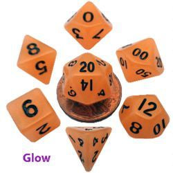 Mini Glow Set - Orange w black font Set of 7 Mini dice