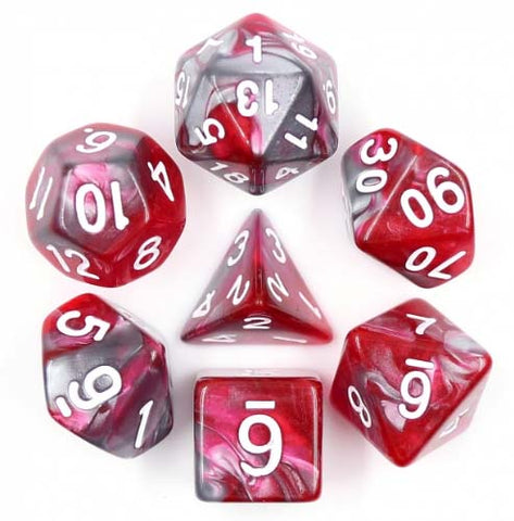 Blend Red Black with white font Set of 7 Dice