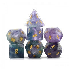 Natural Fluorite w gold font Set of 7 Gemstone Dice