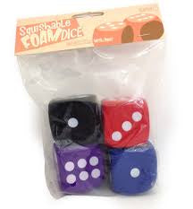 Squishy Dice multicolor 4D6 2 inch Pipped Dice Set