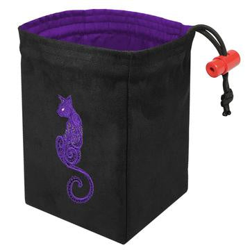 Red King Dice Bag: Suede Black Baroque Purple Cat